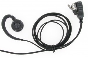 XLT EB310B C-Ring Swivel Earpiece with Lapel PTT Microphone (Braided Cable)
