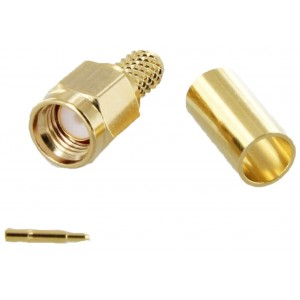 SMA Male Gold Crimp / Solder Connector For RG-58/U