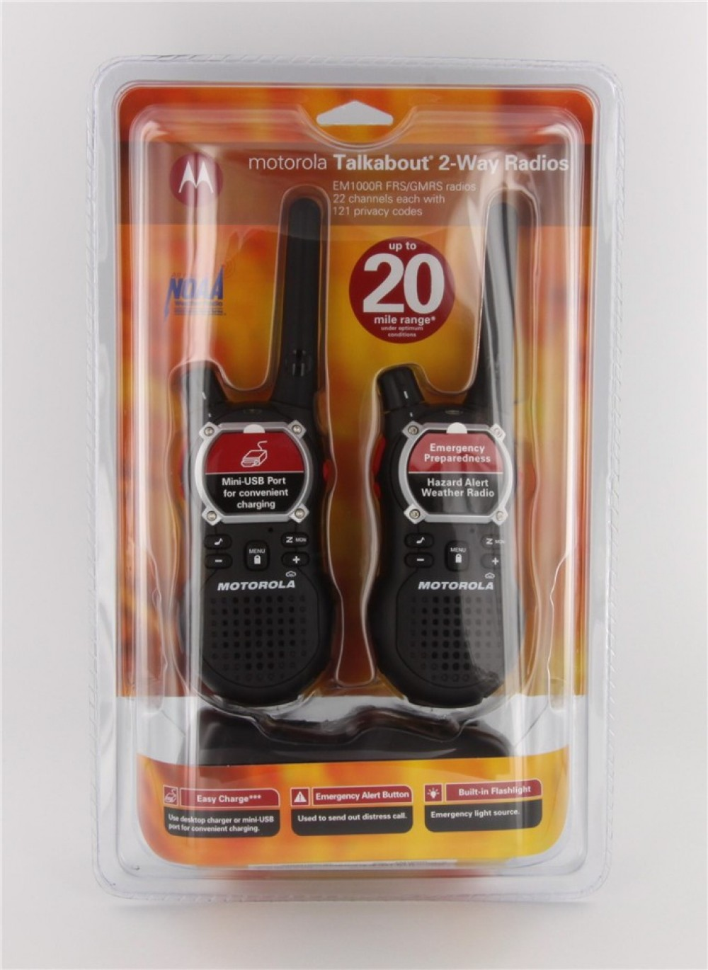 Motorola TALKABOUT EM1000R Emergency Two Way Radios with Charger