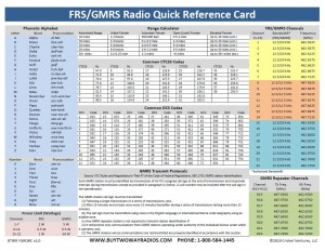 FRS/GMRS Radio Quick Reference Card